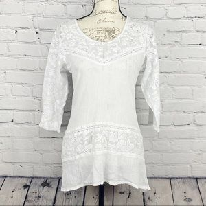 Cute Options White Lace Long Sleeve Blouse